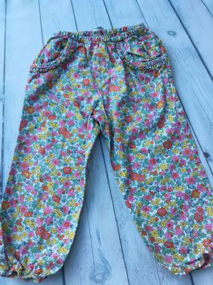 Mini Boden Liberty print trousers with ruffle bum age 2-3